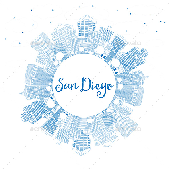 Outline San Diego Skyline with Blue Buildings and Copy Space - Buildings Objects