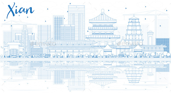 Outline Xian Skyline with Blue Buildings and Reflections - Buildings Objects