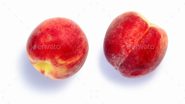 Fuzzy peaches Prunus persica, paths, top view