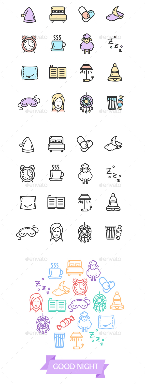 Sleeping and Insomnia Color Thin Line Icon Set - Miscellaneous Conceptual