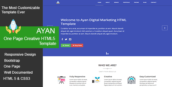 Ayan One Page Creative HTML5 Template - Marketing Corporate