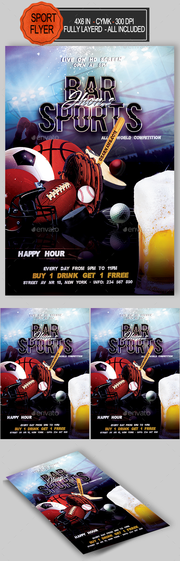 GraphicRiver Sports Bar Flyer Template 20483745