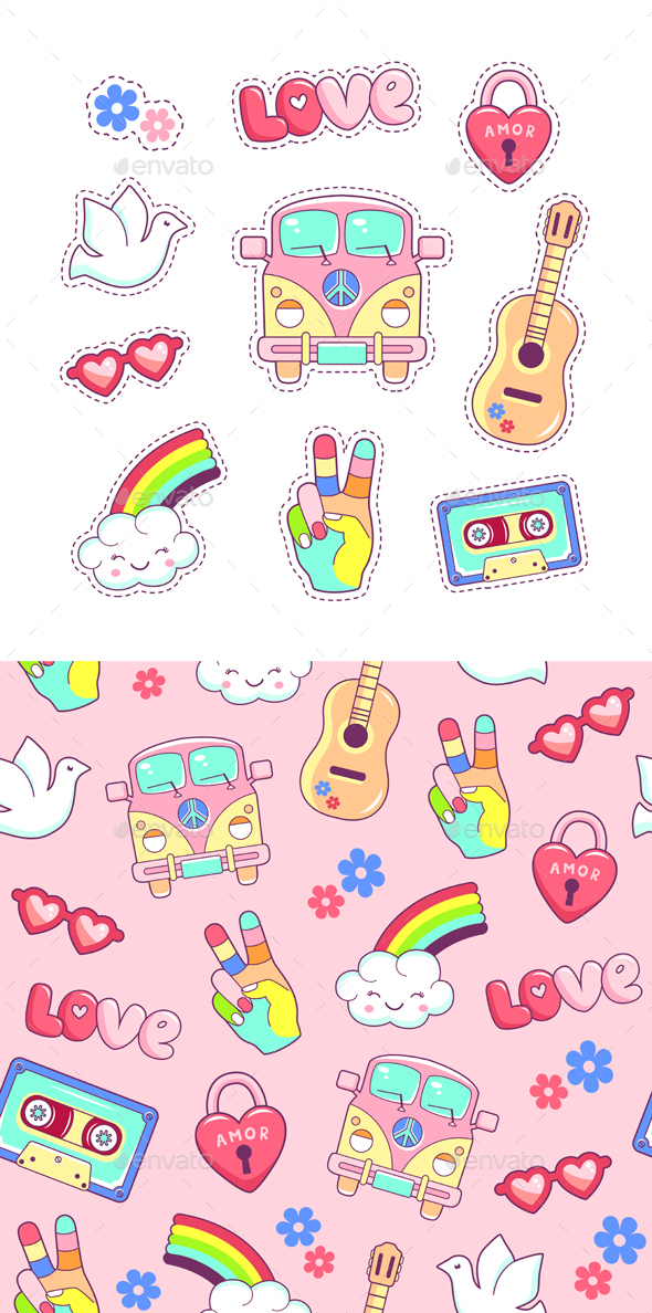GraphicRiver Hippie Style Patches and Stickers 20494805