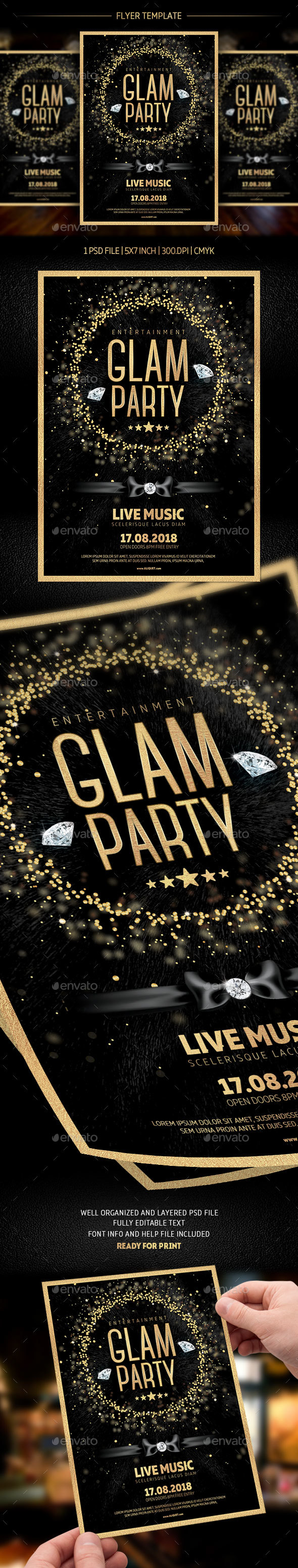 Glam Party Flyer Template - Flyers Print Templates