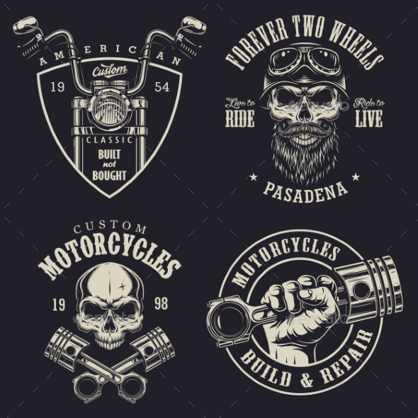 GraphicRiver Set of Custom Motorcycle Emblems 20495235