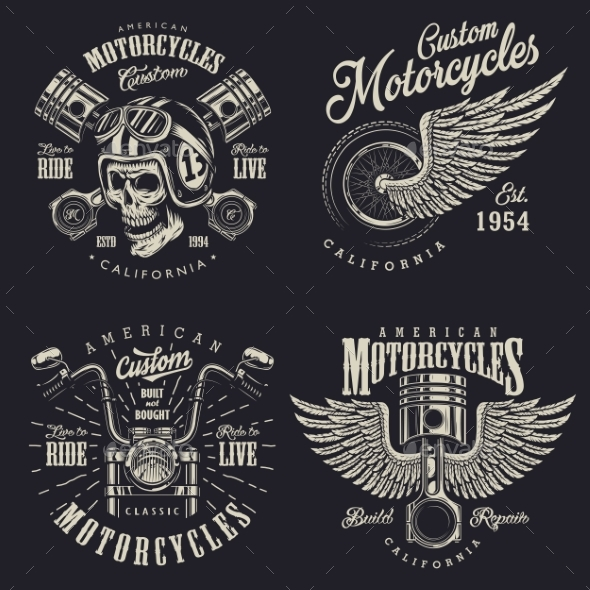 GraphicRiver Set of Custom Motorcycle Emblems 20495237