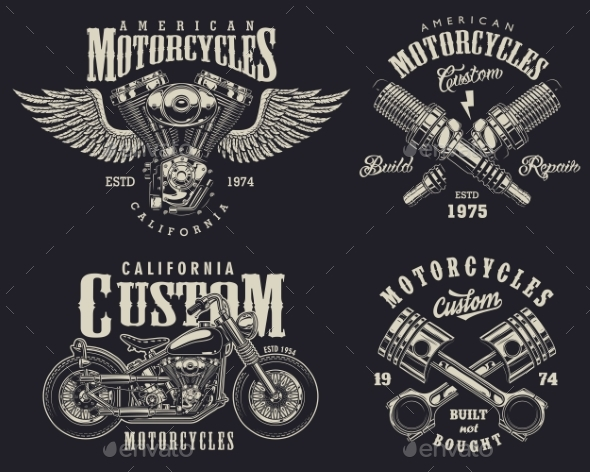 GraphicRiver Set of Custom Motorcycle Emblems 20495238