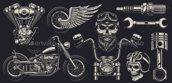 Set of Custom Motorcycle Emblems - Man-made Objects Objects