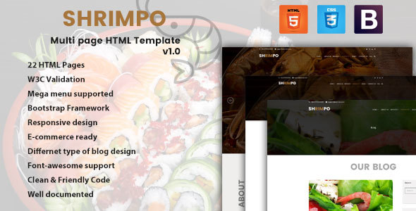 ThemeForest Shrimpo HTML5 Multipage Business Template 20375939