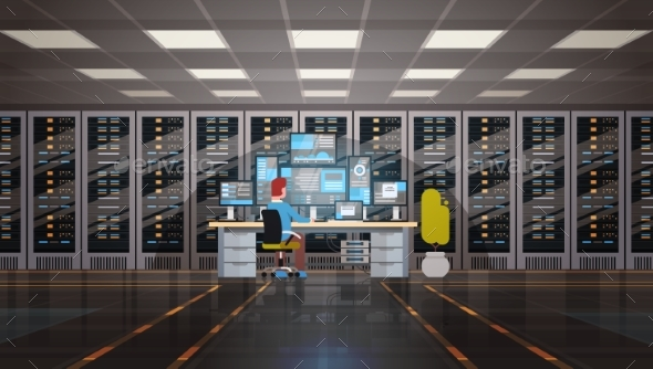 GraphicRiver Man Working in Data Center Room Hosting Server 20495329
