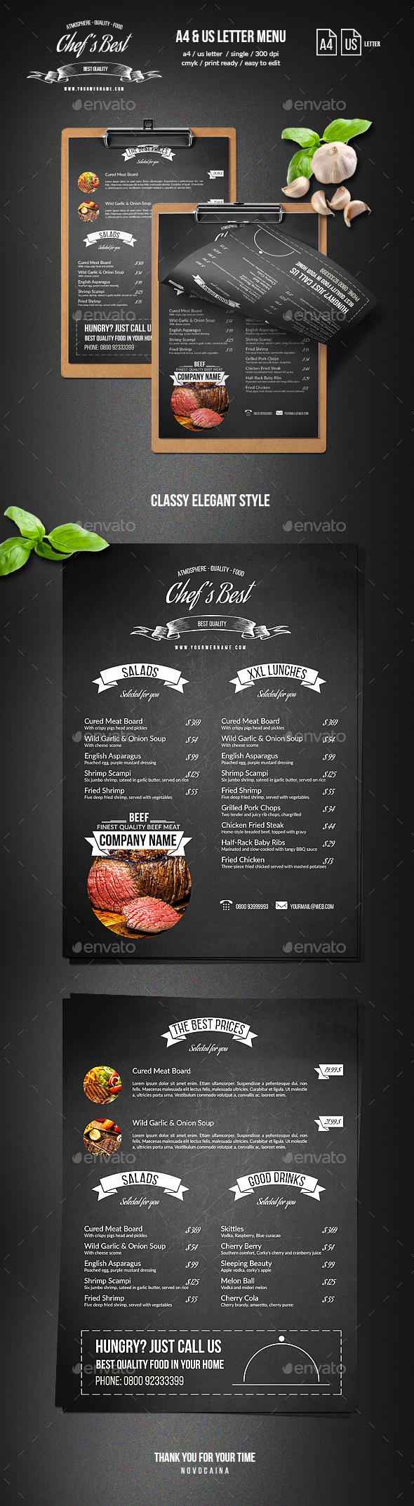 Chef's Restaurant Menu - A4 and US Letter - Single Page - Food Menus Print Templates