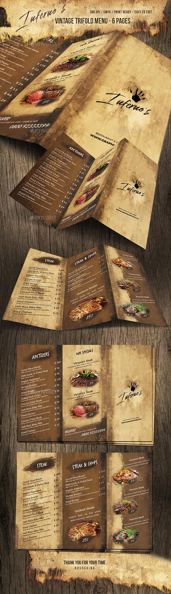 Infernos Vintage Trifold Menu - Food Menus Print Templates