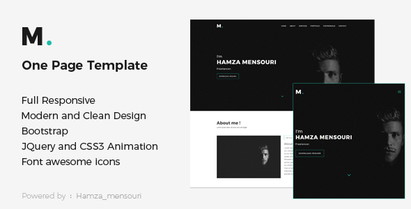 M - One Page Personal Portfolio Template
