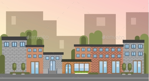 GraphicRiver City Building Houses Town View Silhouette Skyline 20495915