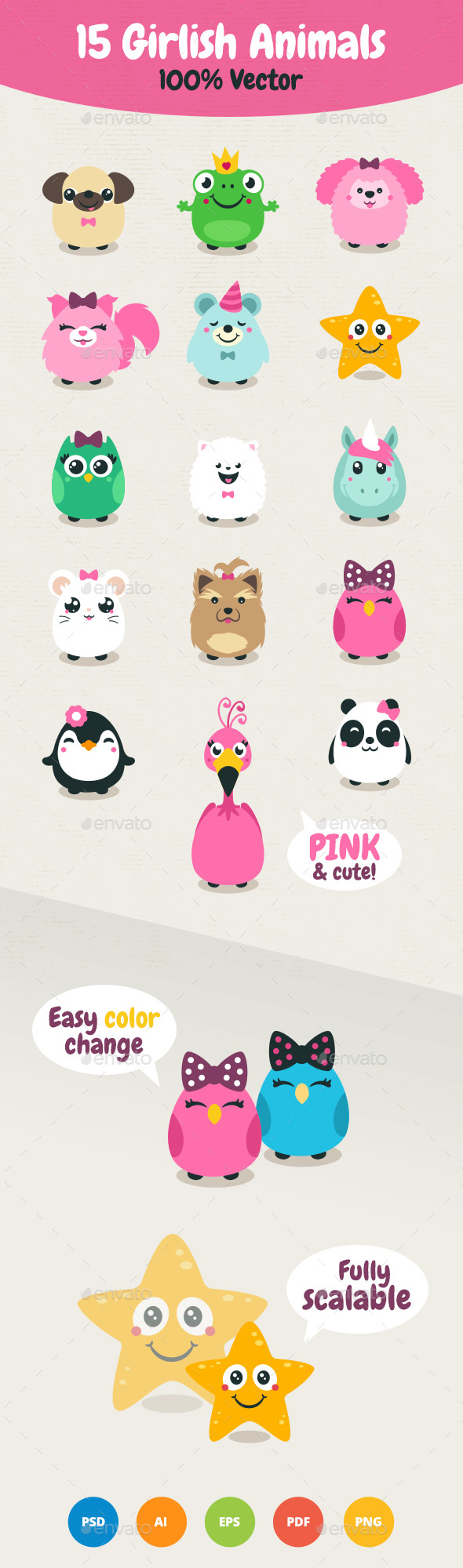 Vector Girlish Animals - Animals Characters