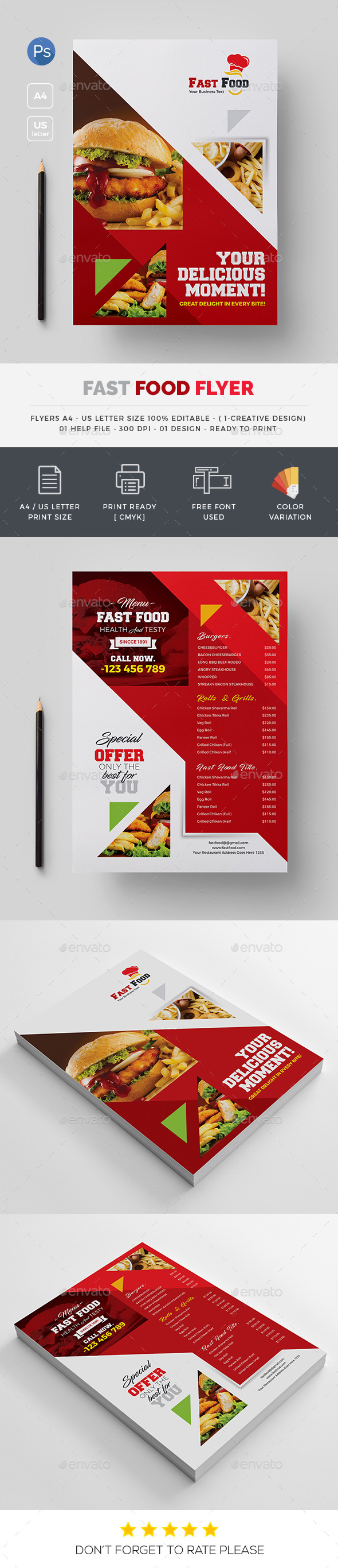 GraphicRiver Fast food Both Side Flyer 20496030