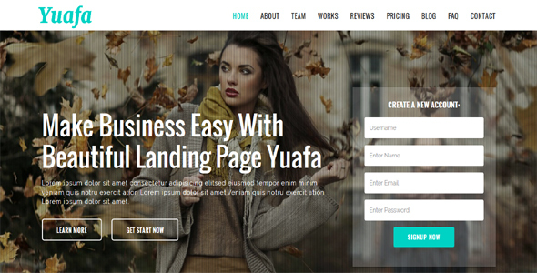 Yuafa - Easy Startup Landing Page - Technology Site Templates