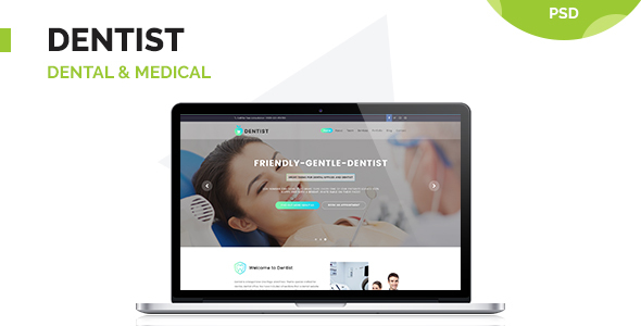 Dentist - Dental & Medical One Page PSD Template - Health & Beauty Retail