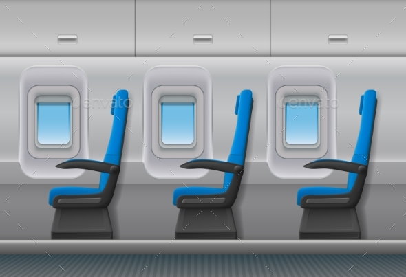 Passenger Airplane Vector Interior. Aircraft - Man-made Objects Objects