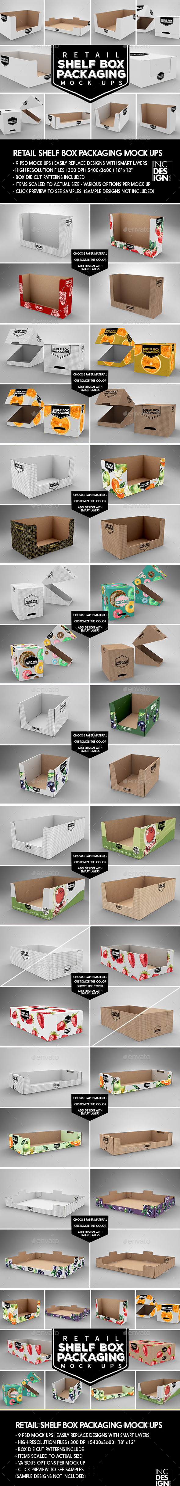 Retail Shelf Box Packaging MockUps