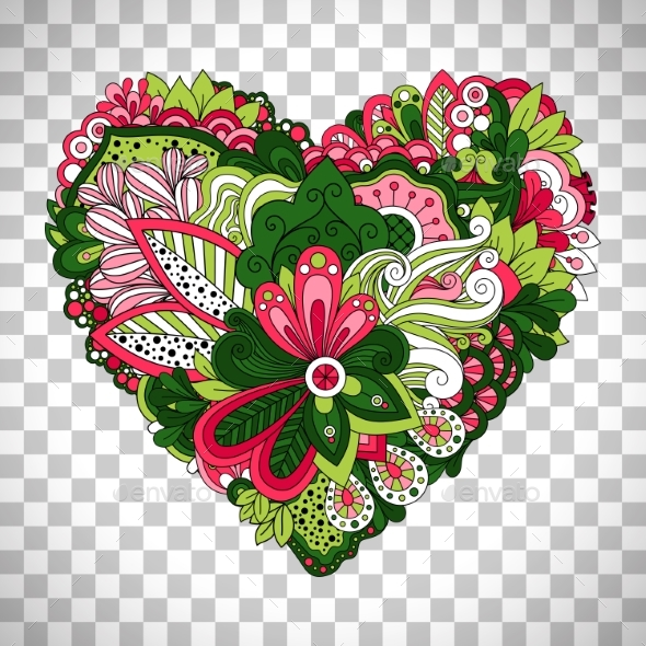 Floral Heart Shape with Summer Flowers - Flowers & Plants Nature