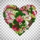 Floral Heart Shape with Summer Flowers