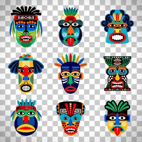 Aztec Mask Set on Transparent Background - Miscellaneous Vectors