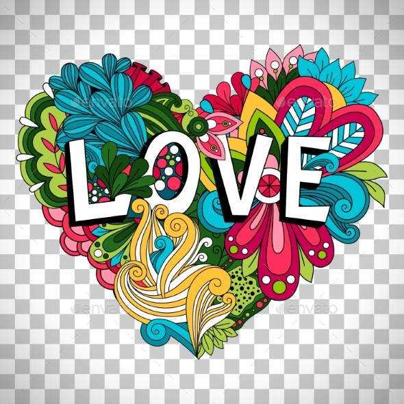GraphicRiver Doodle Floral Heart on Transparent Background 20496429
