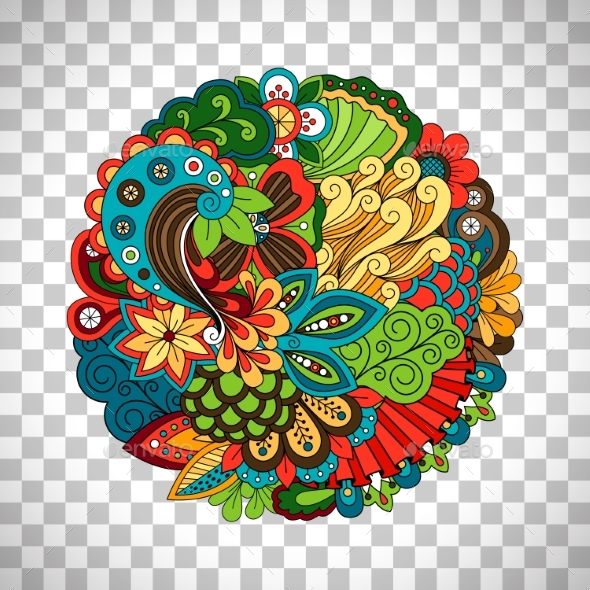 Ethnic Doodle Floral Circle Like Pattern - Flowers & Plants Nature