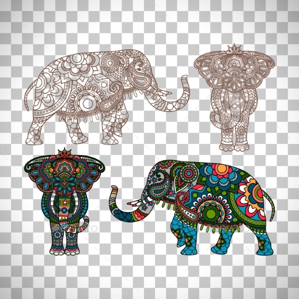 Decorated Elephant on Transparent Background - Backgrounds Decorative