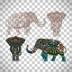 Decorated Elephant on Transparent Background