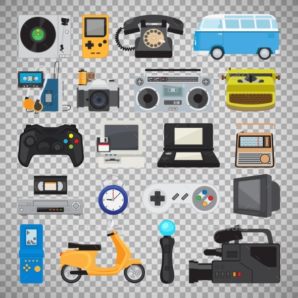 GraphicRiver Hipster Tech Gadget Icons 20496475