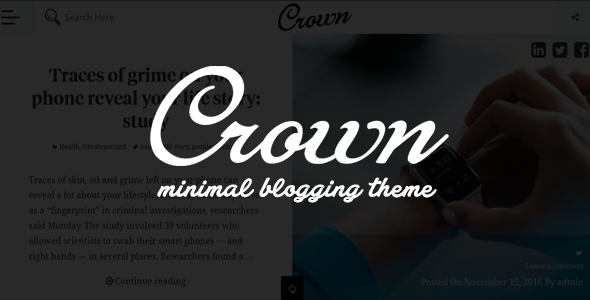 ThemeForest Crown Minimal Blogging Theme 19496385