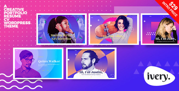 ThemeForest Ivery Creative Portfolio & CV WordPress Theme 20365665