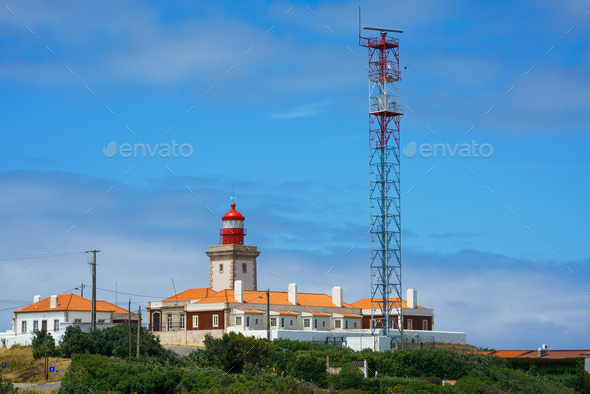 Red Lighthouse At Cape Cabo Da Roca, Portugal - Stock Photo - Images