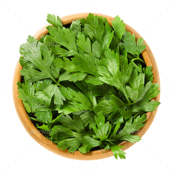 Fresh flat leaf parsley in wooden bowl over white - Stock Photo - Images
