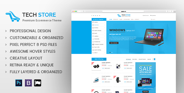 Electronics Store - E commerce PSD Template