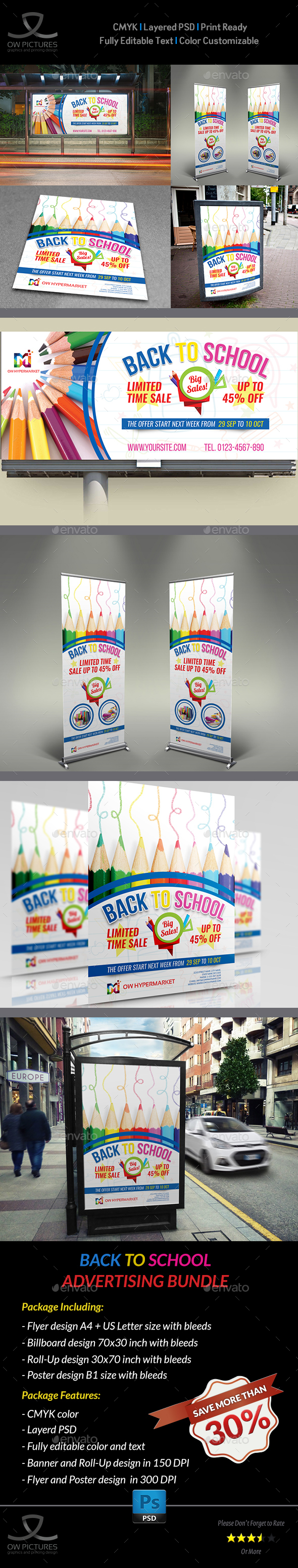 Back To School Advertising Package - Signage Print Templates