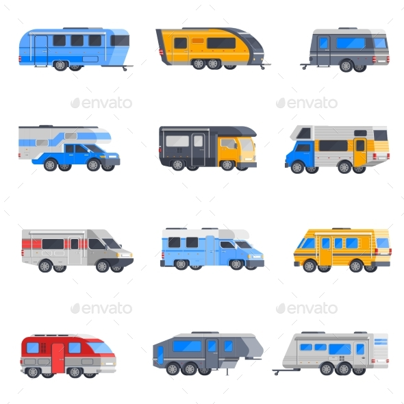 GraphicRiver Camping Vehicles Icon Set 20497122