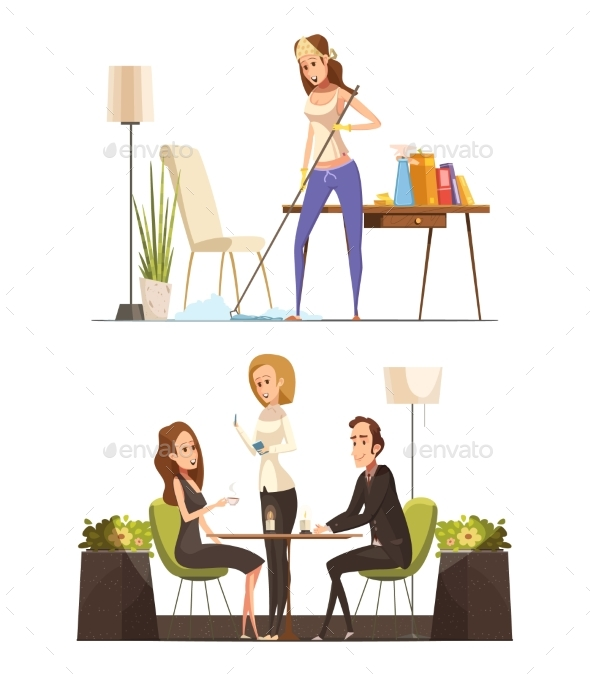 Young Woman At Home And In Coffee House - People Characters