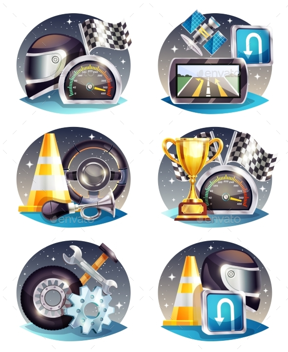 Auto Racing Compositions Set - Sports/Activity Conceptual