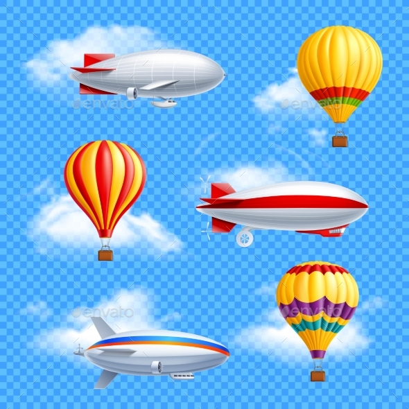 Airship Icon Set - Objects Vectors