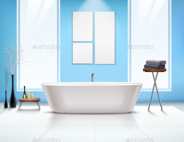 Bathroom Interior Composition - Objects Vectors