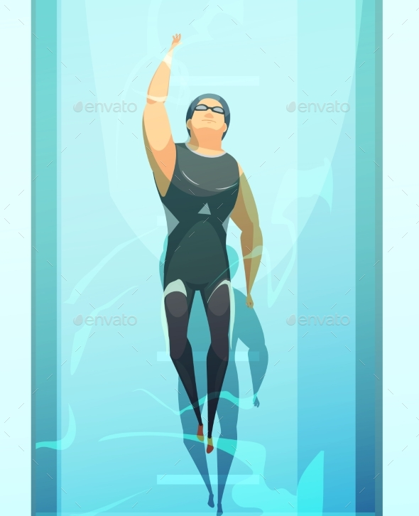Swimmer Retro Cartoon Composition - Sports/Activity Conceptual