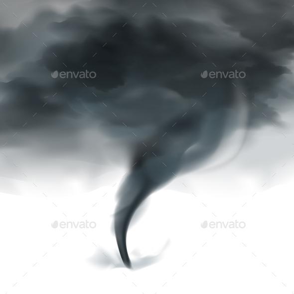 Tornado Sky Realistic Black White - Landscapes Nature