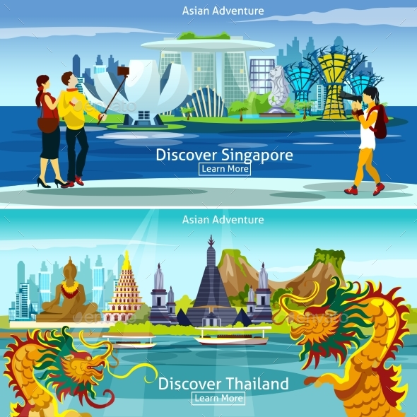 Thailand and Singapore Travel Compositions - Backgrounds Decorative