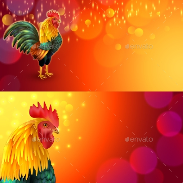 Rooster Banner Set - Animals Characters