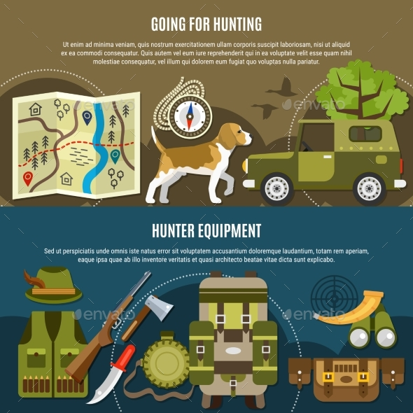 Hunting Horizontal Banners Set - Sports/Activity Conceptual
