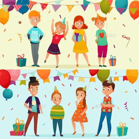 Kids Party Banner Set - Seasons/Holidays Conceptual