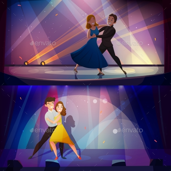 Dance Banners Set Retro Cartoon - Backgrounds Decorative
